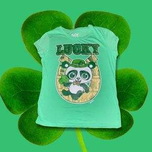 Justice lucky green panda tshirt 14 St patty's day